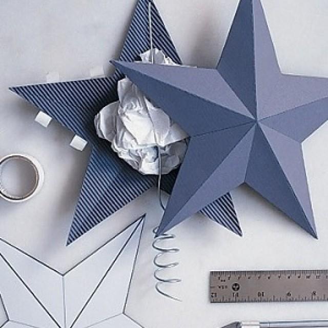 Как сделать звезду из бумаги объемную на ёлку