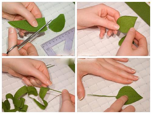 Как сделать листики из гофрированной бумаги 687