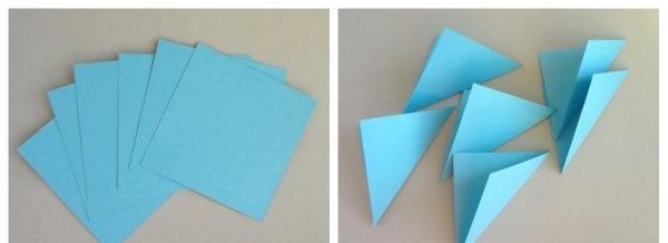 Как сделать снежинку из бумаги из треугольника