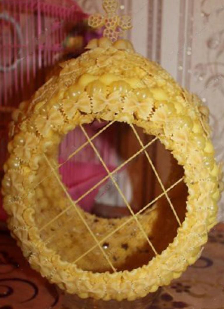 Поделки из макарон своими руками пасхальное яйцо