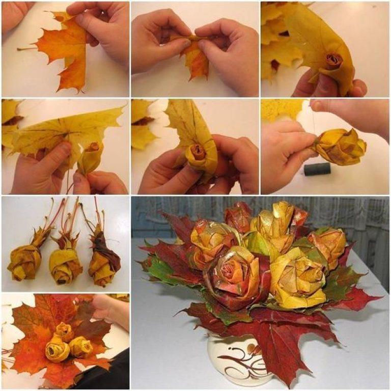 Осенние поделки из листьев и цветов