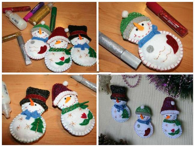 Снеговики из фетра своими руками на новый